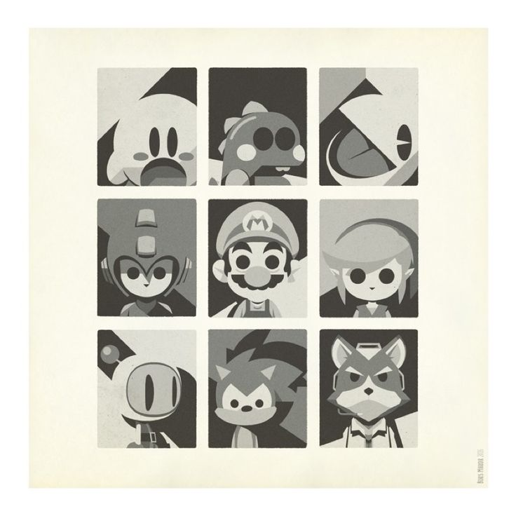 Minimalist Print of Heroes & Vilains in Video Games – Fubiz Media