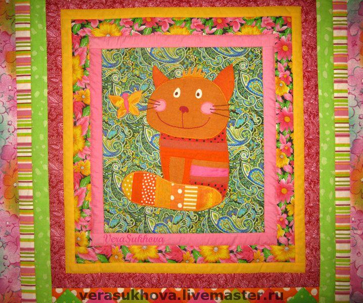 """Купить Детское лоскутное одеяло """" Котейко"""" - детское лоскутное одеяло, детское покрывало, для девочки"""