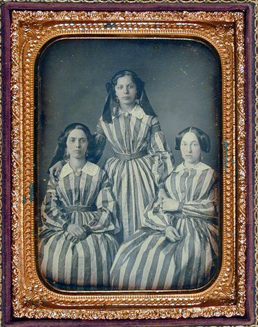 """Unknown, """"Untitled [Three women in striped dresses]"""" (ca. 1850) 