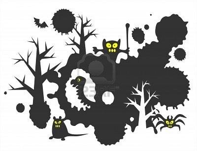 Illustratie - Halloween grunge achtergrond met zwarte vlekken, monsters en bomen.