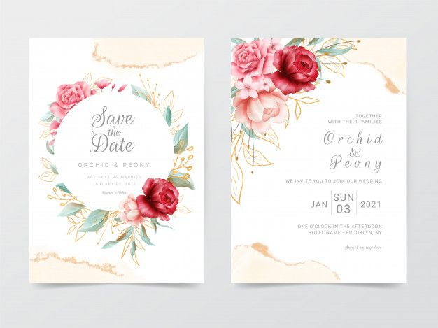 Wedding Invitation Cards Template With Flowers Frame And