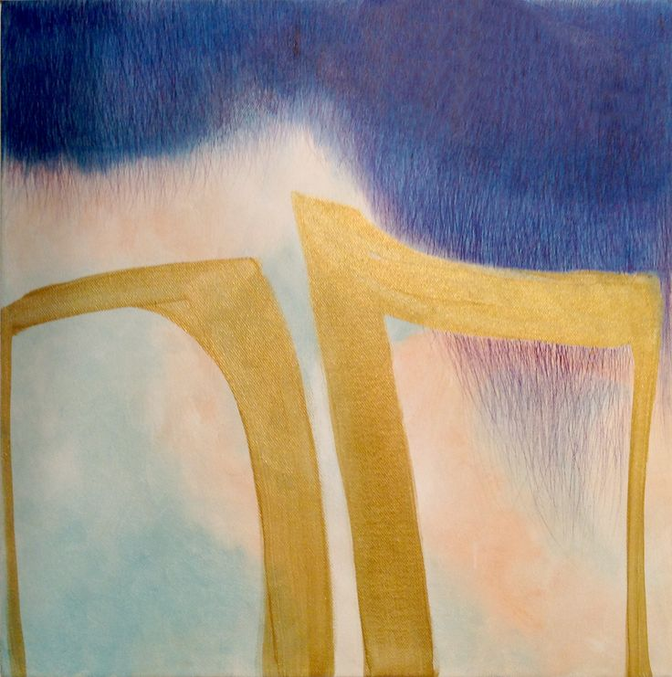 'Twee gouden poortjes', 40 x 40 cm, acryl en balpen op doek, 350,00 euro