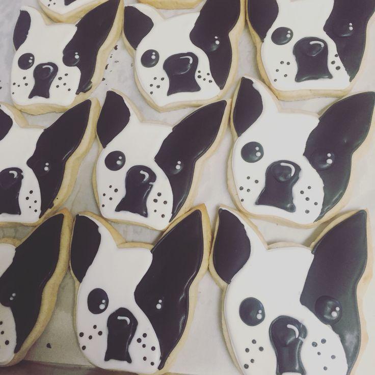 Boston terrier cookies by Hayleycakes and cookies in Austin tx