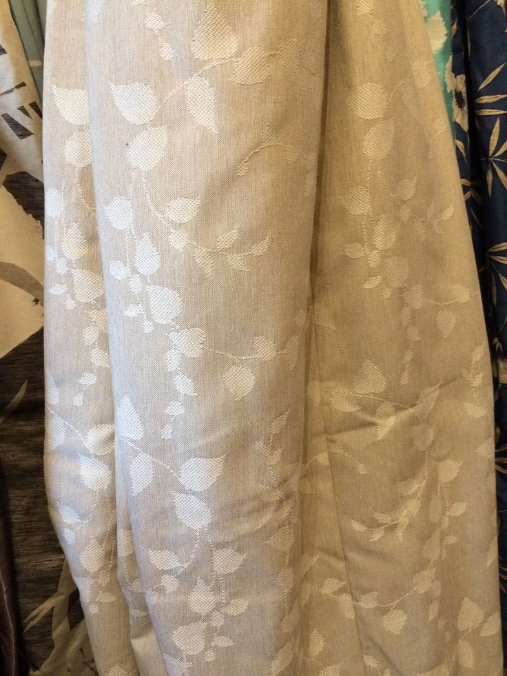 SOLD 1 Pair of of Lined & Interlined curtains. Description: Beige/cream curtains with trailing leaf design - Track: 2.6m Drop: 2.48m Heading: Cartridge Widths in each: 1.5 Contact: The Curtain Bureau for cost & availability. T: 07799887719 CODE: B/28/115 Mitchell