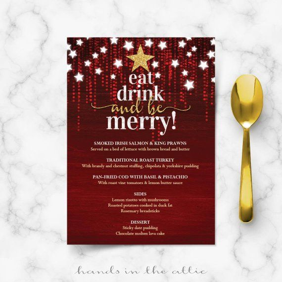 christmas menu template background printable card day eve