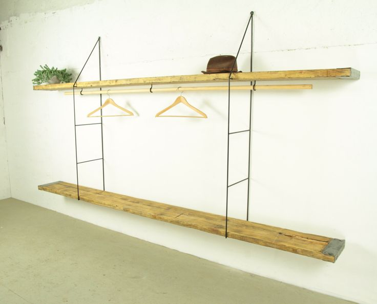 wall mounted shelves reclaimed wood hanging shelf clothes rail and storage system office. Black Bedroom Furniture Sets. Home Design Ideas