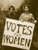 Bitesize history - Two Victorian suffragettes holding a 'Votes for women' poster