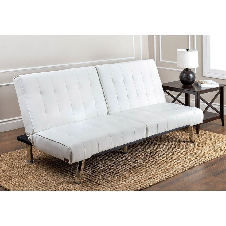 Abbyson Living Jackson Ivory Leather Foldable Futon Sofa Bed (Ivory), White  (Faux