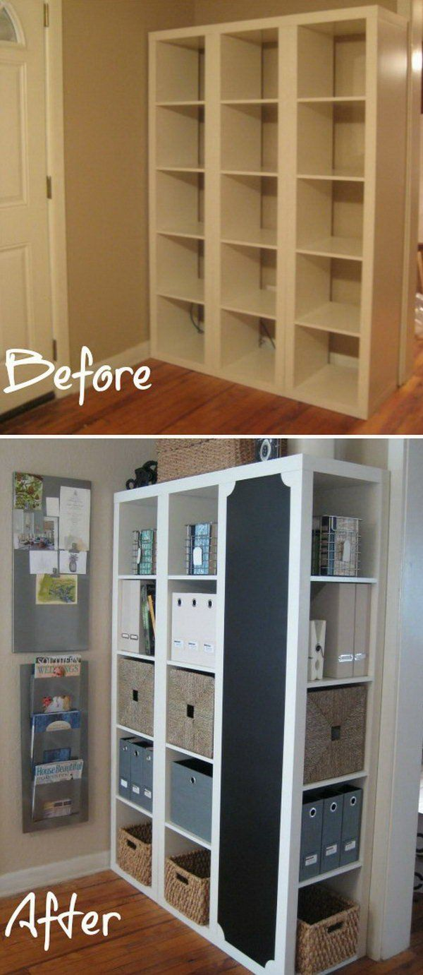 DIY Command Center with Storage and Chalkboard. This creative project starts with three shelving units from IKEA. Adding some chalkboard paint and you can get this particularly awesome, beautiful and creative command center. See more detailed instructions