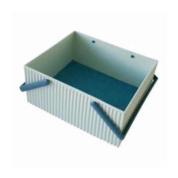 Hachiman Large Sky Blue With Dark Blue Handles Omnioffre Carry Storage Box: Large sky blue with dark blue handles Omniofre carry storage box from Hachiman is easy to carry and designed to look like corrugated cardboard. A protective felt sheet is included at the bottom of the box to create a cushioning surface. Thanks to their clever design, the boxes can also be stacked together like bricks.