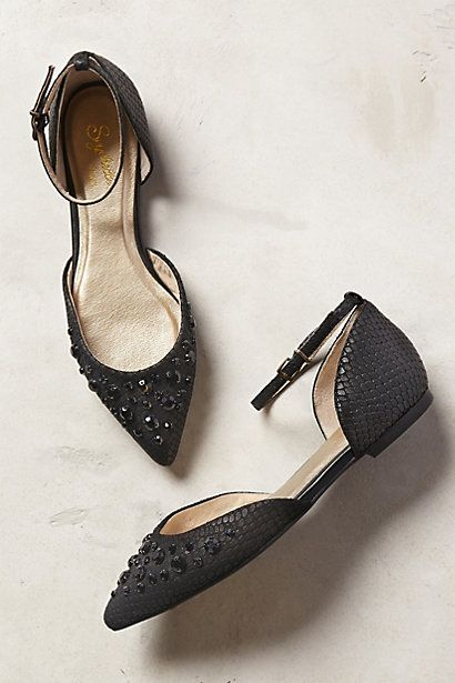 Black Rhinestone Embellished Seychelles Rule of Thumb D'Orsay Pointy Flats #33586421 @ Anthropologie $80 CUTE