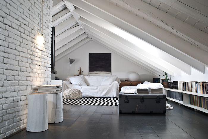 Wohnideen Dachgeschosswohnung dachgeschosswohnung einrichten möbel in schwarz und weiß