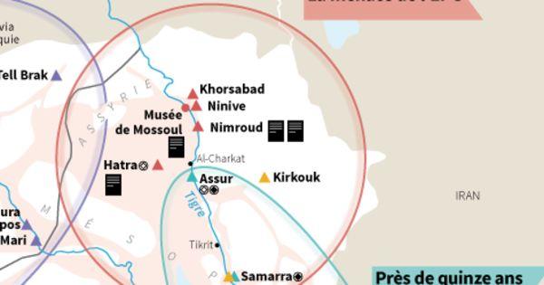 Sites de la Mésopotamie antique pillés, dégradés ou détruits par l'Etat islamique et par la succession des conflits dans la région.