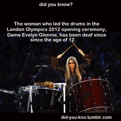 Did you know the woman who led the drums in the Olympics has been deaf since age 12? And she's one of our Vice-Presidents: http://www.ndcs.org.uk/about_us/president_vicepresidents/index.html#contentblock5