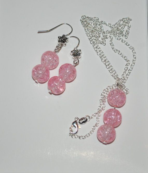 Light pink glass bead necklace and earrings
