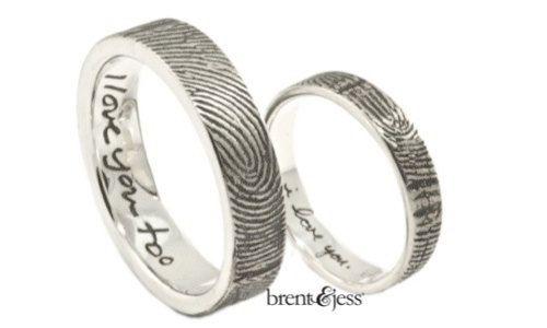 Custom Sterling Silver Fingerprint and Love Note Set of Fingerprint wedding Rings, 5mm and 3mm wedding rings