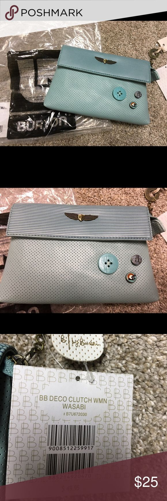 NWT! Burton Deco Wasabi Clutch Handbag/Wallet New with tag!  Adorable clutch. Large enough to be used as a handbag but still small enough to just use as a wallet.  Cool buttons. Some removable to accent w others. About 8inches wide and 6 inches tall.  Cool light blue like robins egg color. Burton Bags Clutches & Wristlets