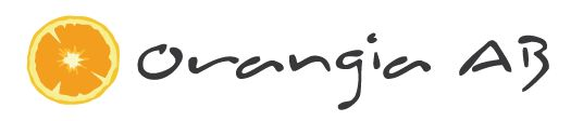 Modified logotype for Orangia AB
