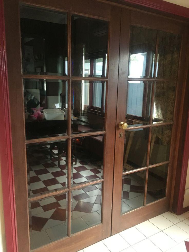 Bevelled glass French doors