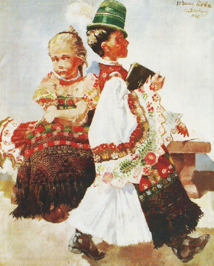 """BARNEBILDER: """"Konfirmasjon"""", malt i 1938 av en 26 pår gammel Roka. Legg merke til detaljene i folkedraktene."""
