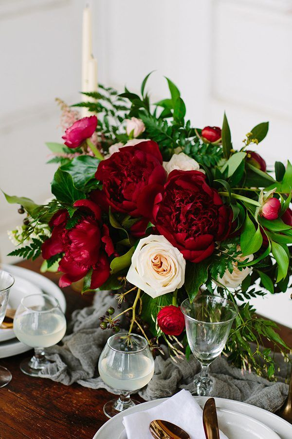 red wedding flowers - photo by Jeff Brummett Visuals http://ruffledblog.com/romantic-elopement-in-tehuacana