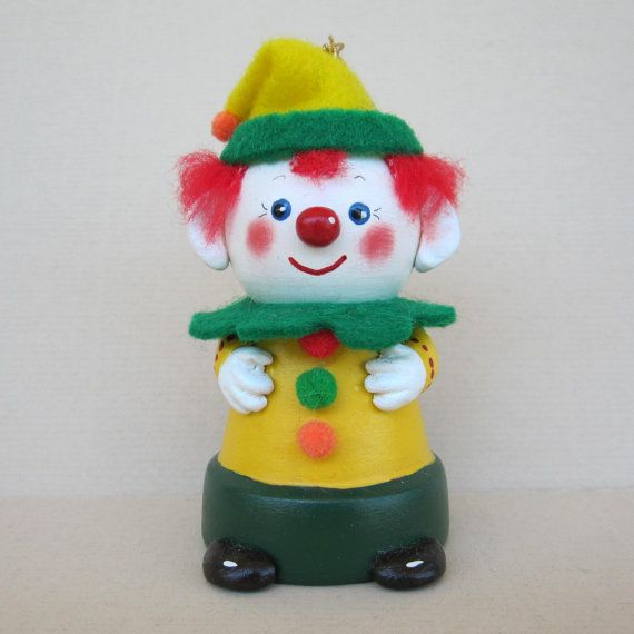 Clown Flowerpot Bell Ornament by sanquicreations on Etsy, $8.99
