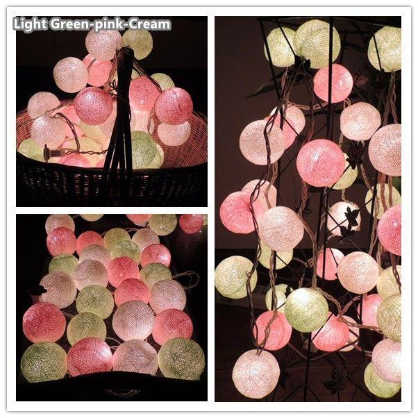 Всего 40 цвета серии, Батареи СВЕТОДИОДНЫЕ тайском стиле Ватным Тампоном Строка Огни Фея, свадьба рождество, рождество Патио Декора купить на AliExpress