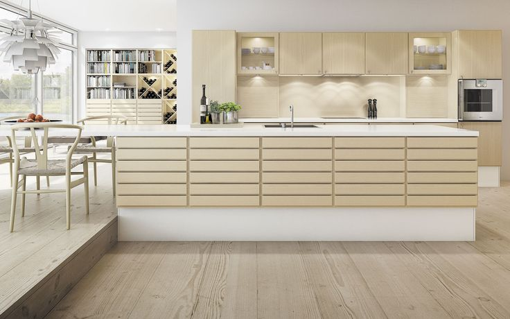 Form 1 //  White pigmented maple kitchen with a corian countertop by Multiform
