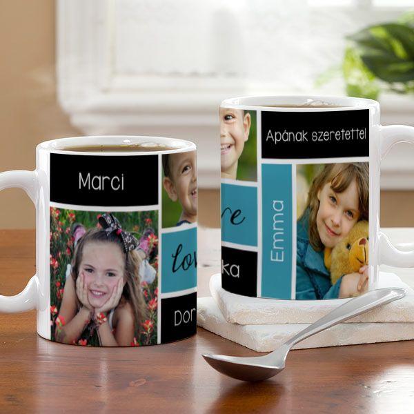 Fényképes bögre - 3 kép - 5 szó  - Mondja el 3 képpel, és 5 szóval, mennyire fontos Önnek! Mi pedig segítünk ezt megörökíteni egy egyedi fényképes bögrén. Ha a reggeli teát egy ilyen bögréből kortyolja a megajándékozott, máris vidámabban indul a napja!  - Egyedi fényképes ajándékok webáruháza - http://www.kepesajandekom.hu