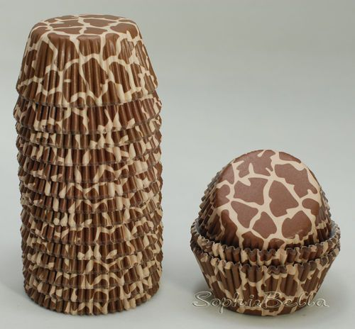 100ct Brown Giraffe Birthday Cupcake Cases Baking Cups Muffin Liners Cups B093 | eBay