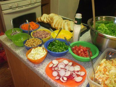 Lent meals -Salad bar night!  Don't forget boiled eggs and chickpeas for protein.
