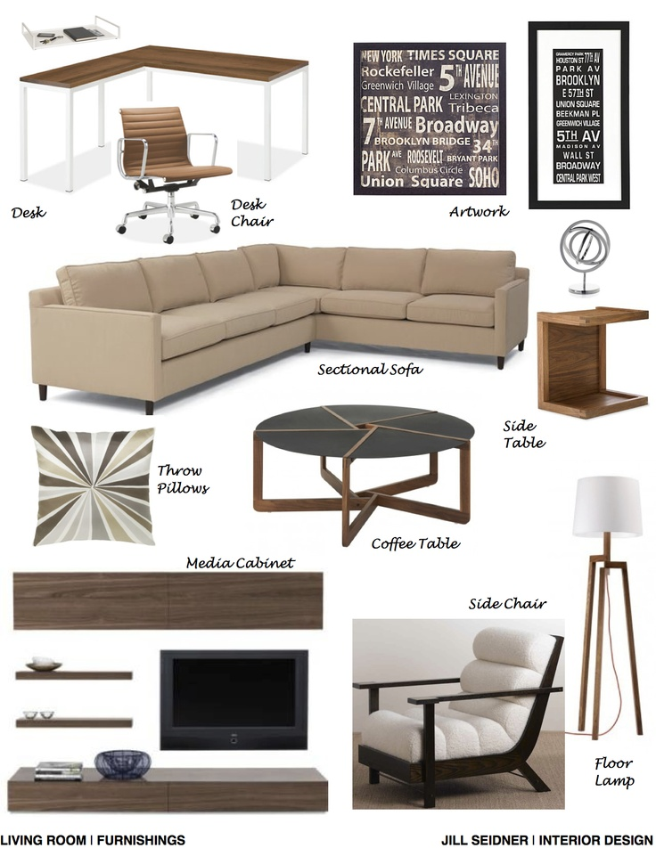NYC Online Design Project Living Room Furnishings Concept Board