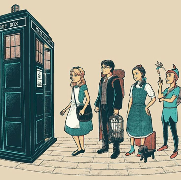 doctor who, alice in wonderland, harry potter, wizard of Oz and Peter Pan fan art