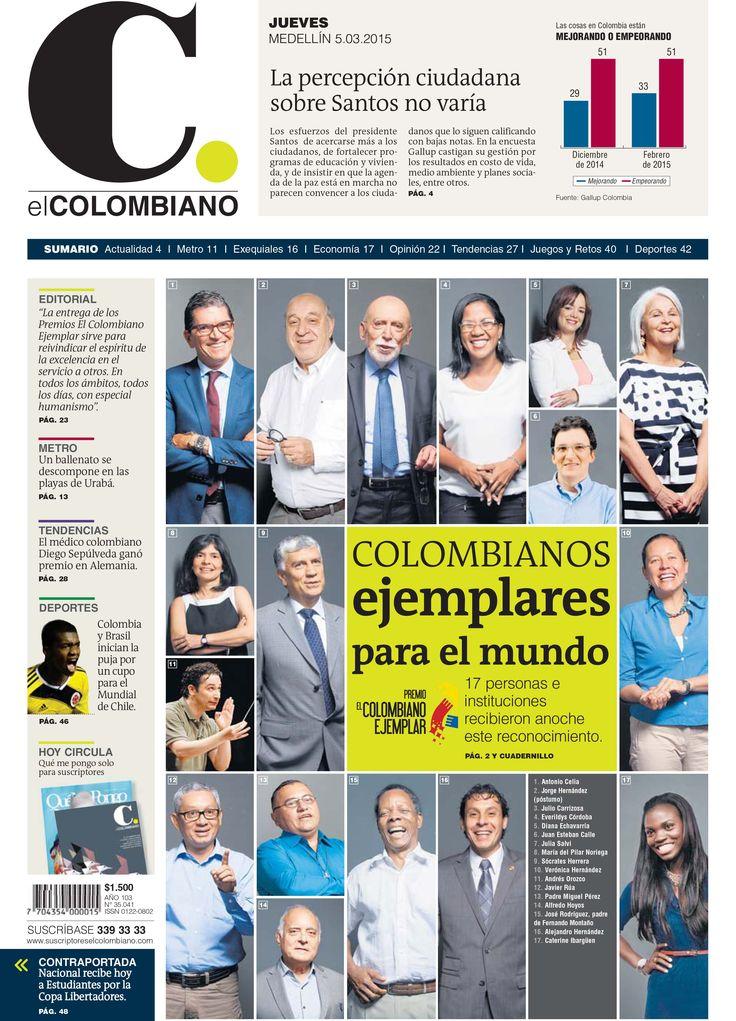 Portada de El Colombiano para el jueves 5 de marzo de 2015.
