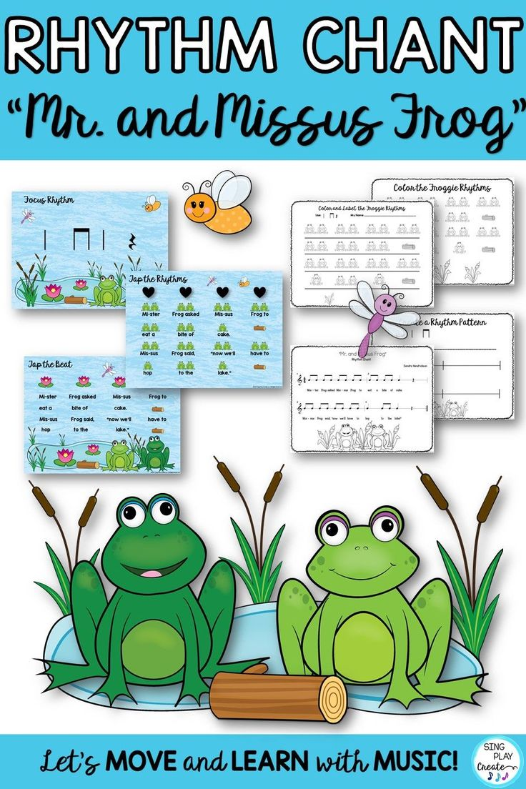 """Rhythm Chant""""Mr. Frog and Missus Frog"""" Spring Music Class"""