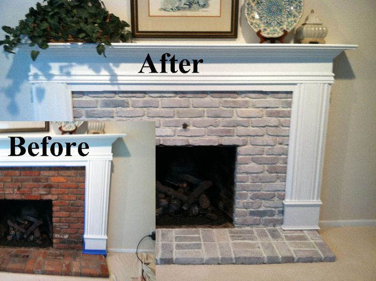 White washed fireplace and Brick fireplace makeover