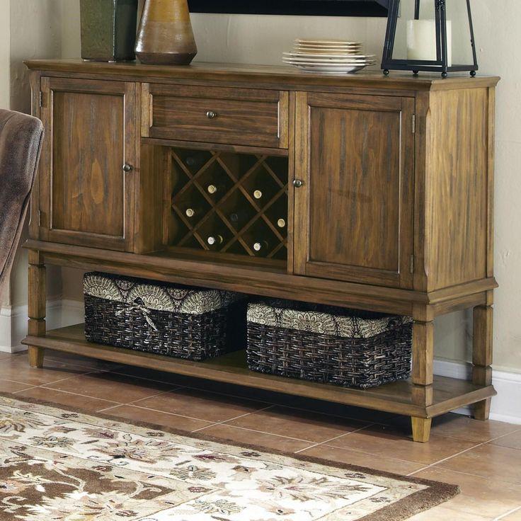 Coaster Furniture 103715 Parkins Server in Coffee with Wine Rack and Shelf #coasterfurniturelivingrooms #coasterfurnitureshelves