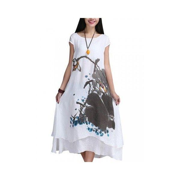 Folk style printed floor length dress