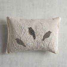 Beaded Silver Birds Pillow