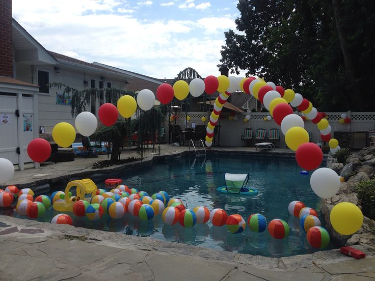 how to make balloon arch over pool