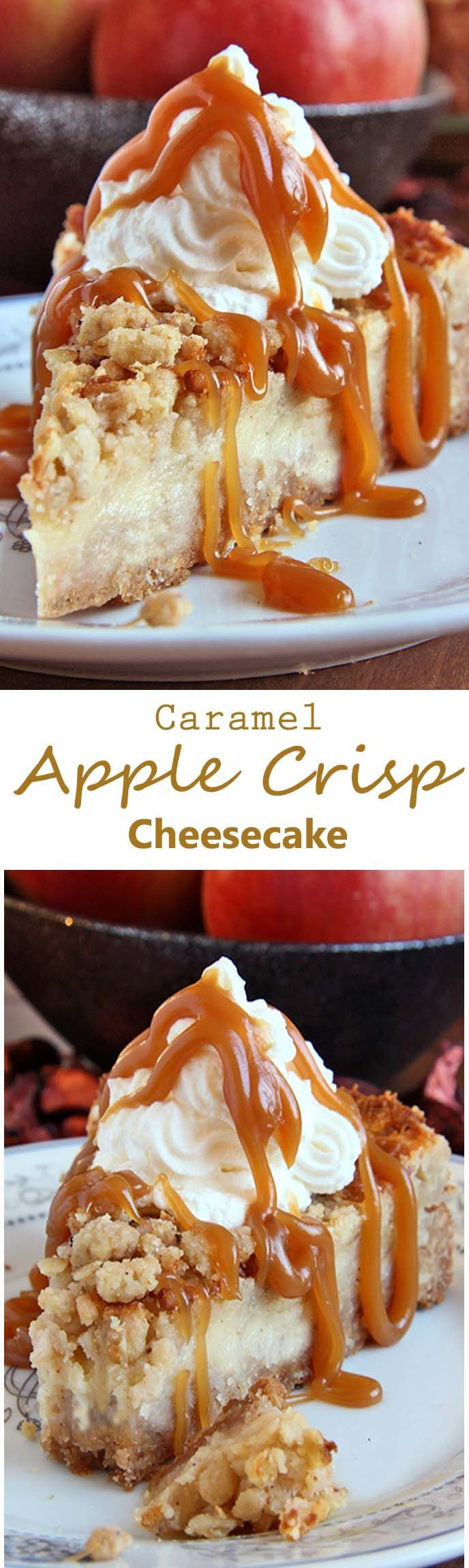 All of the sweet and caramely goodness of a traditional apple crisp, baked on graham cracker crust cheesecake and topped with a dollop of whipped cream.