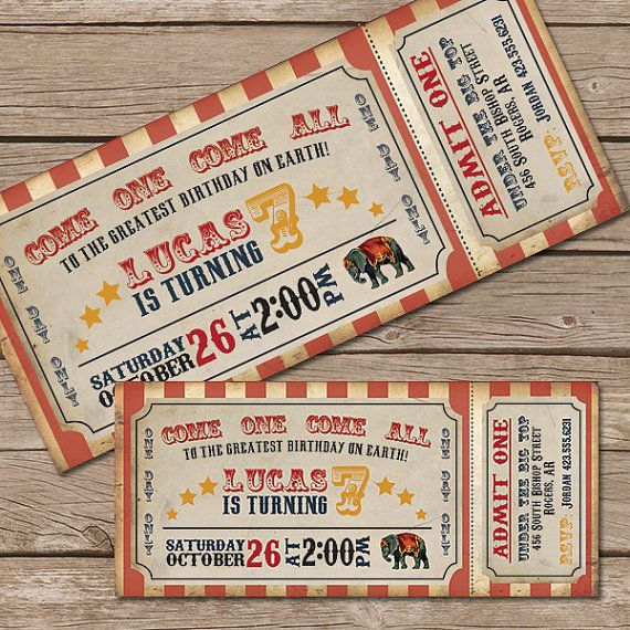 Circus Invitation Birthday Party Vintage Ticket