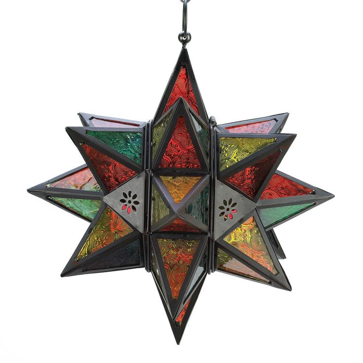 2x Moroccan Style Star Lantern Candle Glass Hanging Holder Votive Home Lanterns #HomeLocomotion