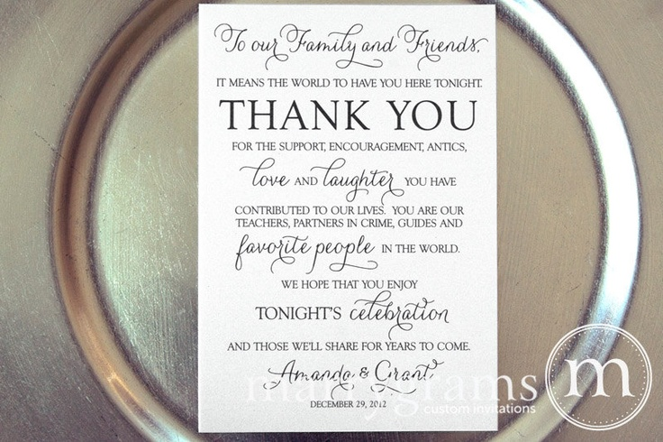 Wedding Reception Thank You Card to Your Guests - To Our Friends and Family... Reception, Seating Thank You Note Card (Set of 50). $100.00, via Etsy.