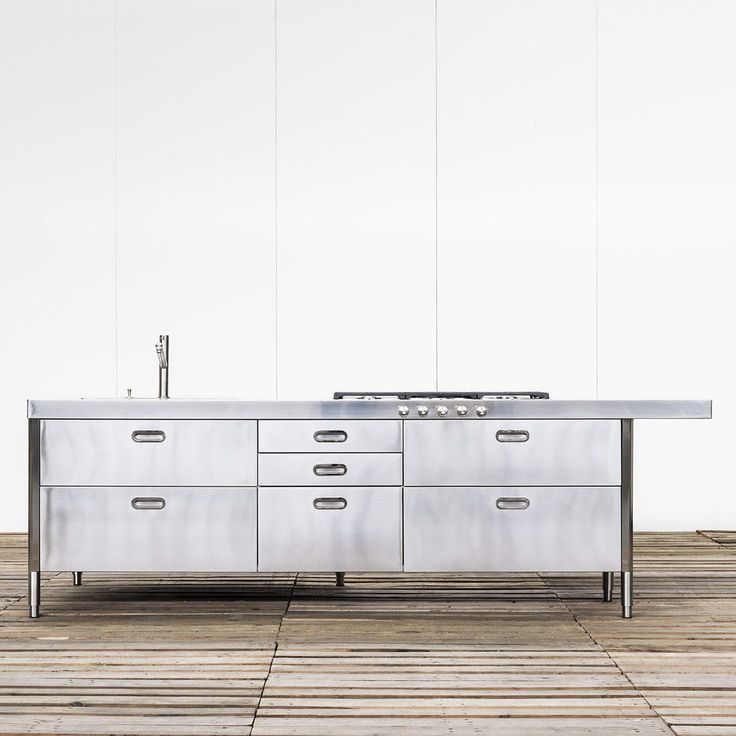 Contemporary kitchen island KITCHEN ISLAND 250-280 WITH DOUBLE SNACK UNIT ALPES-INOX