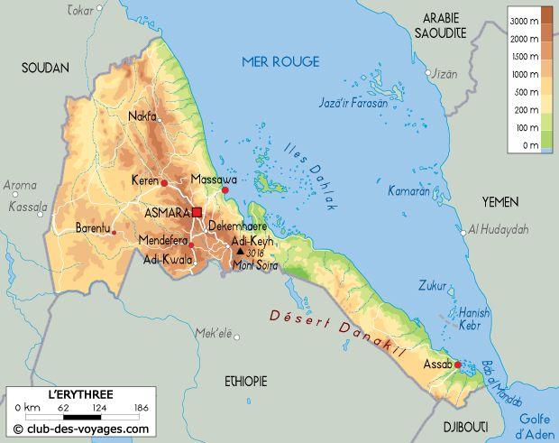 Carte de l'Érythrée