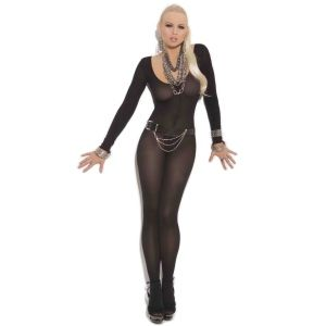 Women's Opaque Long Sleeve Bodystocking with Open Crotch