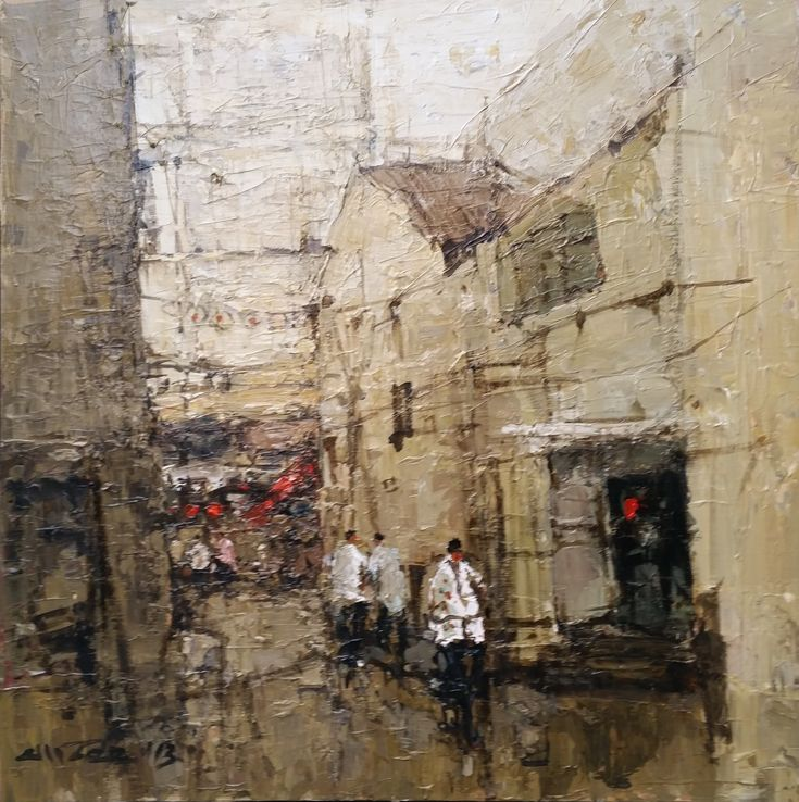 Ang Ah Tee: Alley, Chinatown, Acrylic on Canvas,80 x 80cm. Represented by Ode To Art. Ang Ah Tee's use of precise detail and constructed texture turn a nondescript alleyway in Chinatown into poetic homage to the disappearance of tradition with forthcoming modernity.