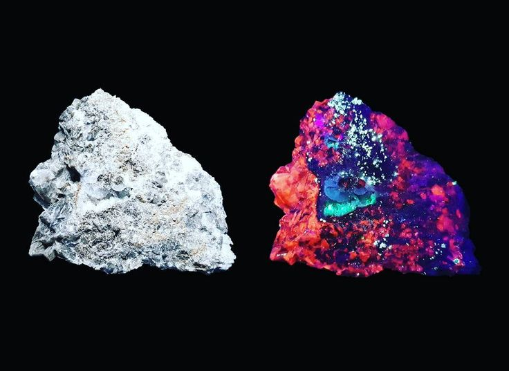 """12 Likes, 1 Comments - @what_can_the_bees_see on Instagram: """"Flourite (blue/violet) and calcite (orange/red) under normal and shortwave ultra violet light. Red…"""""""