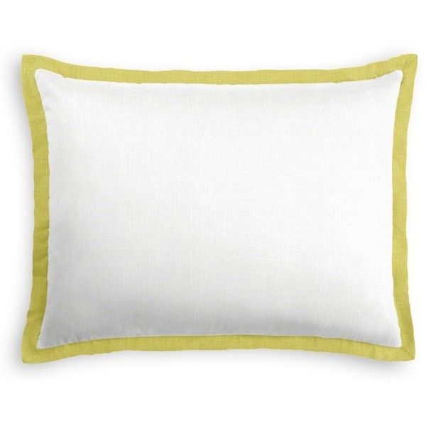 Loom Decor Tailored Sham: Classic Pure Linen White, Crisp Linen Celery... ($96) ❤ liked on Polyvore featuring home, bed & bath, bedding, bed accessories, duvet covers, contemporary bedding sets, linen shams, white bed linen, white bed set and white bedding